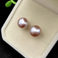7mm 925 Sterling Silver Freshwater Pearl Stud Earrings - Purple