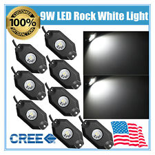 8pcs White 9W LED Rock Light for JEEP Offroad 4WD Under Body Trail Rig Light MUS