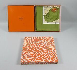 Vintage Hermes ON EPSOM DOWNS 1836 GREEN Silk Scarf in Box NOS Artist Ledoux