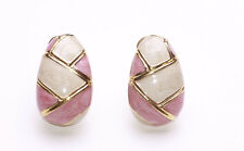 FABERGE EGG INSPIRED GOLD METAL WITH PINK & CREAM LACQUER CLIP ON EARRINGS(ZX46)