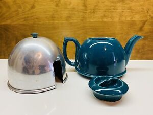 """Vintage Green Ceramic Teapot With """"Cozy"""" Aluminum Insulated Cover"""