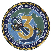 "4"" Navy Mobile Construction Battalion Three Pacific Fleet Embroidered Patch"