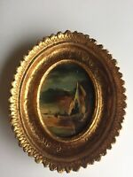Vintage Small Oil Painting Gold Frame Tara Productions Italy Oval Bubble Glass