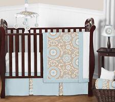 Bumperless Unique Blue Taupe Discount Unisex Baby Crib Girl Boy Room Bedding Set