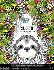 Sloth Adult Colouring Book Animals Jungle Patterns Floral Flower Garden Calm
