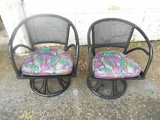 Awesome Pair MCM Vintage Rattan & Cane Back Swivel Chairs Gorgeous Seat Cushions