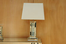 Mercury Large Table Lamp 60cm Mirrored Floating Crystal Base White Fabric Shade