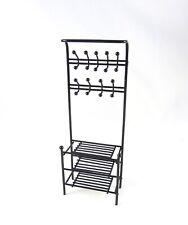 Dollhouse Miniature Black Metal Shelf with Hooks, EIWF565
