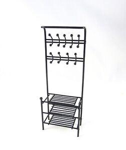 Closeout! Dollhouse Miniature Black Metal Shelf with Hooks, EIWF565