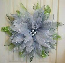 Handmade* Silver Poinsettia Wreath*  Winter * Christmas * Silver & White*
