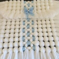 Luxurious Baby Pom Pom Blanket / Pram / Car Seat Cover in All White with Blue
