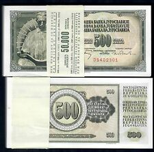 yugoslavia 500 dinara 1970 pick 84a mazzetta di 100 esemplari