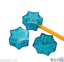 12 CHRISTMAS Winter or FROZEN Party Favors PENCIL SHARPENERS SNOWFLAKE