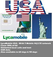 US Travel Lycamobile US prepaid sim card 30 days 5GB data Tmobile 4G/LTE