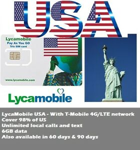 USA Travel Lycamobile US prepaid sim 30 days 5GB T-Mobile 4G UNLIMITED CALL TEXT