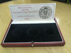 1989 Royal Mint 500th Anniversary 3 Coin Gold Proof Sovereign Empty Box & COA