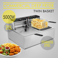 2x10L Stainless Steel Commercial Twin.Double Tank Electric Deep Fat Fryer Basket
