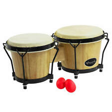 """More details for world rhythm bongos 6"""" & 7"""" beginners oak natural bongo drums with egg shakers"""