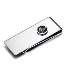 Men's Business Wallet Gift Stainless Steel Masonic Money Clip Credit Card Holder