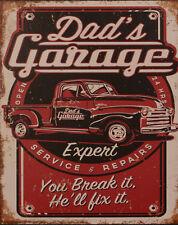 """Blechschild """"Dad's Garage"""" Auto Kfz Werkstatt Reparatur Hilfe Diner 25x20cm neu"""