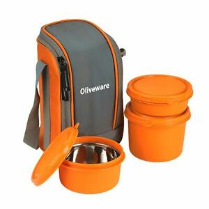 3 Orange Lunch Boxes Are Microwave Safe & Leak Proof Contain In a Lunch Bag