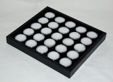 GEM TRAY STACKABLE 25 SPACE BLACK FOAM, BLACK TRAY, WHITE JARS