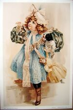 art print~BYE BYE~Victorian Girl with Doll and puppy Child hat vtg repro 12x18