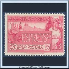 1907 San Marino Espresso Allegoria cent. 25 rosa n. 1 Nuovo Integro