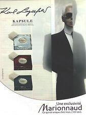 PUBLICITE  ADVERTISING 2008  KAPSULE par Karl Lagerfeld parfum cosmériques