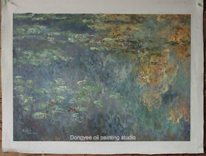 Art heavy oil painting on canvas repro CLAUDE MONET water Lilies painted 20x28in
