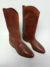 NEW VINTAGE LEATHER WOMENS LADIES BROWN COWBOY BOOTS LEATHER CORDELLA 6M 6 SIZE