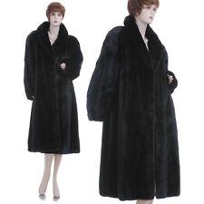 LKNW! XL! Black Beauty! Real Female Canadian Black Mink Fur Swing Coat