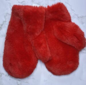 Wild Fable Girl's Faux Fur Bright Red Fuzzy Mittens Fluffy One Size
