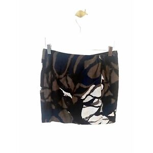 Vince printed pattern ruched front twist straight mini skirt 4 s small zip