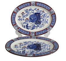 "Pair of Minton Aesthetic Faisan Oval Serving Platters Polychrome 9.5""  blue red"