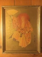 Asian Chinese Man with Kimono and Fan Framed Art Print 1957 Signed 8 x 10