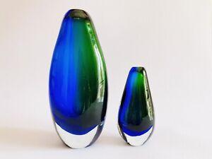 🔴 2 vasi vintage in vetro di Murano sommerso flavio poli anni 70 PERFETTI
