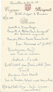 MN262 - MENU REVEILLON 1964 HOTEL D'AZUR LE PRADET