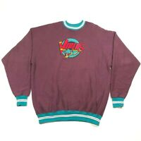 Vintage Detroit Vipers IHL Purple Teal Snake Small Logo Sweatshirt Mens 2XL