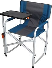 Ozark Trail Director Chair With Side Table Folding Padded Back Camping Blue