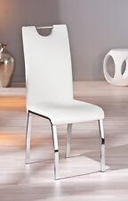 Georgia / 6 Stühle=Set, Küchenstuhl, Stühle Kunstleder Weiß, Metallgestell