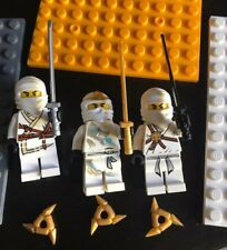 (3)Lego Minifigures Ninjago Figures White  with Weapons Ninja Toys Lot Zane