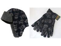 JOHN LEWIS Boys Skull Crossbones Navy Fleece Trapper Hat Gloves S M L