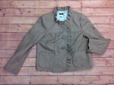 Retro J Crew Tweed Fiona Wool Blazer Jacket Womens Sz 10 M Brown Ruffle Button