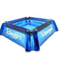 Vintage Schweppes Colbalt Blue Glass Advertising Ashtray Man Cave Shed Bar Keys