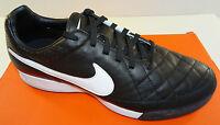 NIKE Tiempo Legacy TF Men's Leather Soccer Shoe  Black/White   Medium   NEW