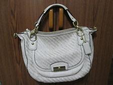 Coach Woman's Handbag Purse White/Woven Leather Large #B1320-F23048 Beautiful
