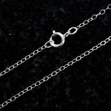 15 Inch Sterling Silver Cable Chain Necklace W/ Spring Clasp and Closed Rings