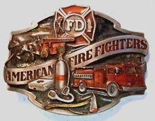 Vintage 1988 Siskiyou AMERICAN FIREFIGHTERS 3D Colored Enamel Belt Buckle SALE!