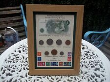 More details for 59th birthday 1962, £1 note, 7 coin & stamps, framed set, unique gift